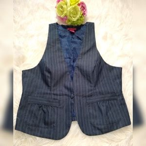 SUNNY LEIGH STRIPED BLUE VEST,SIZE 14.